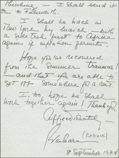 BARBARA BABCOCK - AUTOGRAPH LETTER SIGNED 09/08/1974