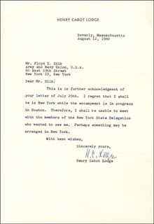 HENRY CABOT LODGE JR. - TYPED LETTER SIGNED 08/12/1960