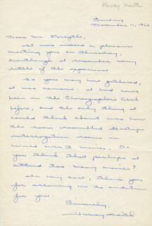 HARVEY KEITH - AUTOGRAPH LETTER SIGNED 12/11/1966