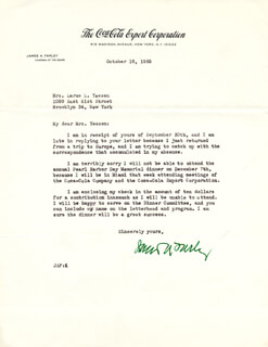 Autographs: JAMES A. FARLEY - TYPED LETTER SIGNED 10/18/1965