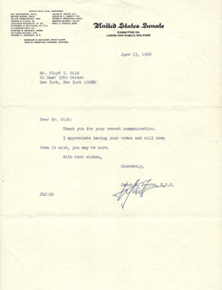JACOB K. JAVITS - TYPED LETTER SIGNED 06/13/1966