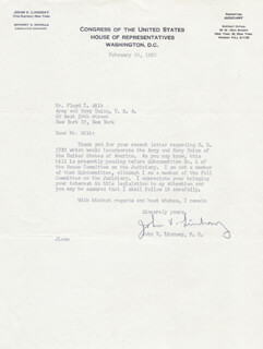 MAYOR JOHN V. LINDSAY - TYPED LETTER SIGNED 02/29/1960
