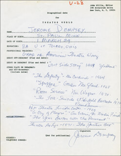 JEROME DEMPSEY - AUTOGRAPH RESUME SIGNED