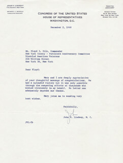 MAYOR JOHN V. LINDSAY - TYPED LETTER SIGNED 12/02/1960
