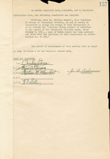THOMAS A. EDISON - CORPORATE MINUTES SIGNED 10/19/1920 CO-SIGNED BY: GOVERNOR CHARLES EDISON, STEPHEN B. MAMBERT, HARRY F. MILLER, WILLIAM H. MAXWELL, J. W. ROBINSON