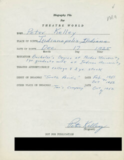 PETER KELLEY - AUTOGRAPH RESUME SIGNED