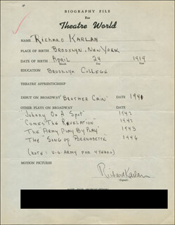 RICHARD KARLAN - AUTOGRAPH RESUME SIGNED