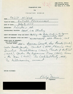 PHILIP MINOR - AUTOGRAPH RESUME SIGNED