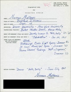 NORMAN MATHEWS - AUTOGRAPH RESUME SIGNED