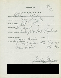 KATHLEEN MAGUIRE - AUTOGRAPH RESUME SIGNED