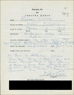 Autographs: ROBERT COOTE - AUTOGRAPH RESUME SIGNED