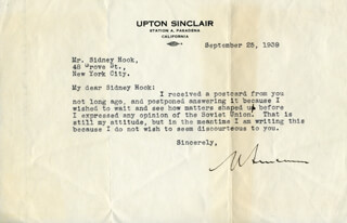 UPTON SINCLAIR - ANNOTATED TYPED LETTER SIGNED 09/25/1939