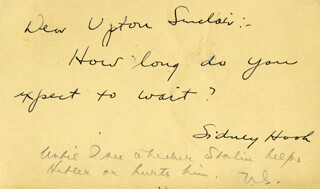 UPTON SINCLAIR - AUTOGRAPH NOTE SIGNED 09/30/1939