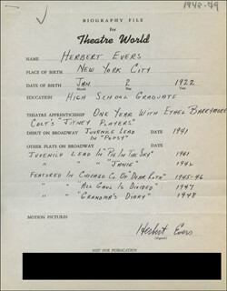 HERBERT EVERS - AUTOGRAPH RESUME SIGNED