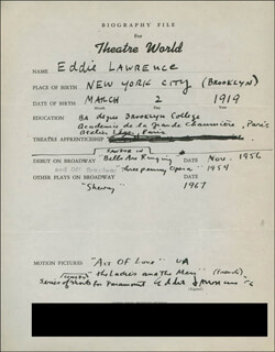 EDDIE LAWRENCE - AUTOGRAPH RESUME SIGNED