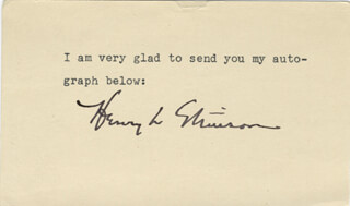 HENRY L. STIMSON - TYPED NOTE SIGNED