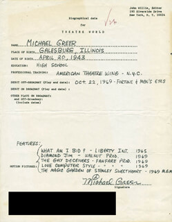 MICHAEL GREER - AUTOGRAPH RESUME SIGNED