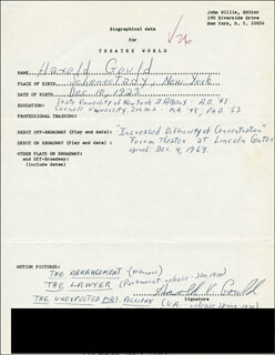 HAROLD GOULD - AUTOGRAPH RESUME SIGNED