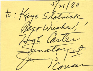 HUGH CARTER - AUTOGRAPH NOTE SIGNED 05/21/1980