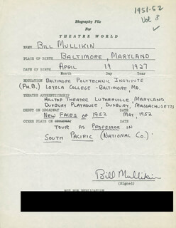 BILL MULLIKIN - AUTOGRAPH RESUME SIGNED