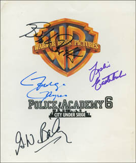 POLICE ACADEMY 6: CITY UNDER SIEGE MOVIE CAST - AUTOGRAPHED SIGNED PHOTOGRAPH CO-SIGNED BY: G. W. BAILEY, BUBBA (CHARLES) SMITH, LESLIE EASTERBROOK, GEORGE GAYNES