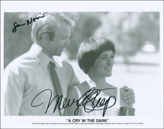 Autographs: A CRY IN THE DARK MOVIE CAST - PRINTED PHOTOGRAPH SIGNED IN INK CO-SIGNED BY: MERYL STREEP, SAM NEILL