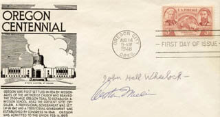 ARTHUR MILLER - FIRST DAY COVER SIGNED CO-SIGNED BY: JOHN HALL WHEELOCK