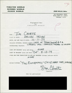 TIM CHOATE - AUTOGRAPH RESUME SIGNED