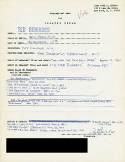 TED BENIADES - AUTOGRAPH RESUME SIGNED