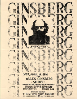 ALLEN GINSBERG - FLYER SIGNED 4/19
