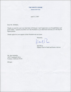 KARL ROVE - TYPED LETTER SIGNED 04/12/2007