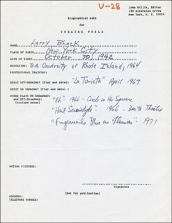 LARRY BLOCK - AUTOGRAPH DOCUMENT SIGNED IN TEXT