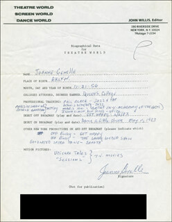 JOANNE GENELLE - AUTOGRAPH RESUME SIGNED