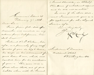 MAJOR GENERAL WINFIELD SCOTT HANCOCK - MANUSCRIPT LETTER SIGNED 02/07/1884