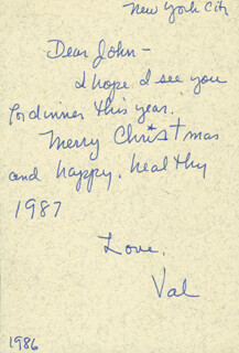 VAL DUFOUR - AUTOGRAPH NOTE SIGNED 1986