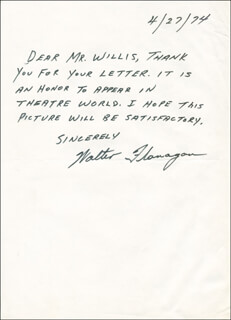 WALTER FLANAGAN - AUTOGRAPH LETTER SIGNED 04/27/1974