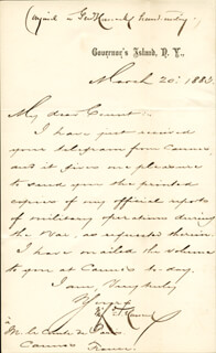 Autographs: MAJOR GENERAL WINFIELD SCOTT HANCOCK - MANUSCRIPT LETTER WITH AUTOGRAPH NOTE SIGNED 03/20/1883