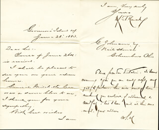 Autographs: MAJOR GENERAL WINFIELD SCOTT HANCOCK - MANUSCRIPT LETTER WITH AUTOGRAPH NOTE SIGNED 06/28/1883