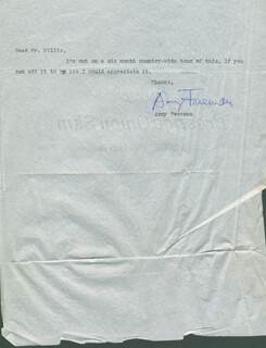 ARNY FREEMAN - TYPED LETTER SIGNED