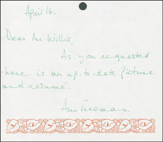 ANN FREEMAN - AUTOGRAPH NOTE SIGNED 04/16