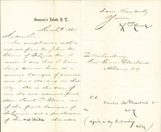 MAJOR GENERAL WINFIELD SCOTT HANCOCK - MANUSCRIPT LETTER WITH AUTOGRAPH NOTE SIGNED 03/08/1883