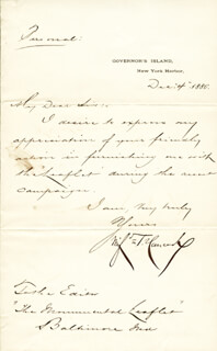 MAJOR GENERAL WINFIELD SCOTT HANCOCK - MANUSCRIPT LETTER SIGNED 12/04/1880