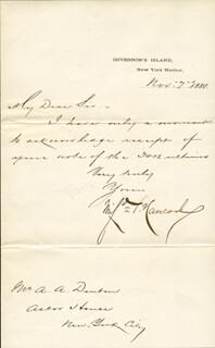 MAJOR GENERAL WINFIELD SCOTT HANCOCK - MANUSCRIPT LETTER SIGNED 11/02/1880