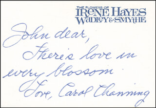 CAROL CHANNING - AUTOGRAPH NOTE SIGNED