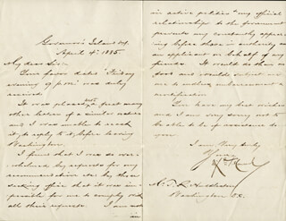 MAJOR GENERAL WINFIELD SCOTT HANCOCK - MANUSCRIPT LETTER SIGNED 04/04/1885