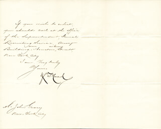 MAJOR GENERAL WINFIELD SCOTT HANCOCK - MANUSCRIPT LETTER SIGNED 12/30/1880