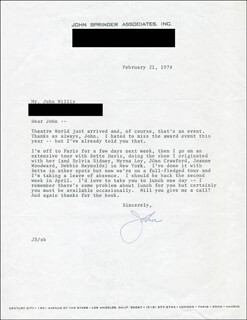 JOHN SPRINGER - TYPED LETTER SIGNED 02/21/1974