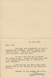 JEROME JERRY LAWRENCE - TYPED LETTER SIGNED 07/26/1984