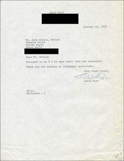 JOSIP ELIC - TYPED LETTER SIGNED 10/29/1979