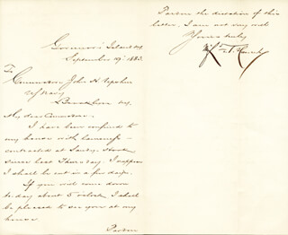 MAJOR GENERAL WINFIELD SCOTT HANCOCK - MANUSCRIPT LETTER SIGNED 09/19/1883